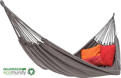 ECOMUNDY Pure Bio XL 380 Anthrazit - Moderne Premium Doppel Hängematte - handgewebt - Bio Baumwolle - GOTS - 160x260x380 cm - 250 kg