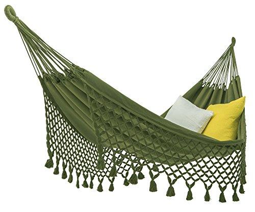 ECOMUNDY Romance XL Bio 320 grün - Luxus Hängematte mit Fransen - Handgewebt - GOTS - Bio Baumwolle 130x200x320cm Max 150kg