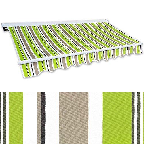 Jawoll Kassetten-Markise 3 x 25 m grün-braun Profilfarbe Weiß Sonnenschutz Alu Markise Schattenspender Sonnensegel Hülsenmarkise Gelenkarm-Markise