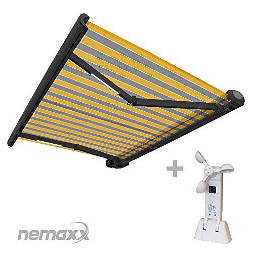 Nemaxx FCA40X Vollkassettenmarkise mit Licht- und Windsensor 4m x 3m gelb-grau Kassettenmarkise für optimale Beschattung aus UV-beständigem und wetterfestem Acryltuch - Markise in grauer Kassette - nach DIN EN 13561