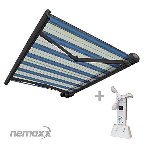 Nemaxx FCA40X Vollkassettenmarkise mit Licht- und Windsensor 4m x 3m hellblau-weiß Kassettenmarkise für optimale Beschattung aus UV-beständigem und wetterfestem Acryltuch - Markise in grauer Kassette - nach DIN EN 13561