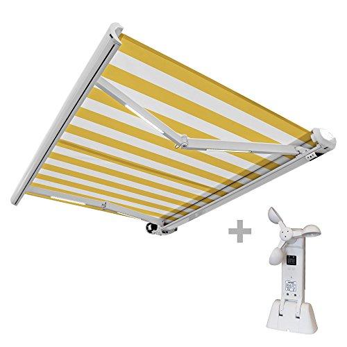 Nemaxx FCA45X Vollkassettenmarkise mit Licht- und Windsensor 45m x 3m gelb-weiß Kassettenmarkise für optimale Beschattung aus UV-beständigem und wetterfestem Acryltuch - Markise in weißer Kassette - nach DIN EN 13561