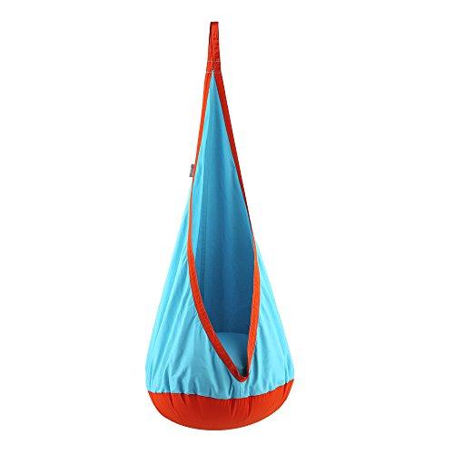 Eggdel Kinder Pod Swing zusammenklappbar Hängesessel Hängematte Sitz Innen und Außenbereich Sky Blau