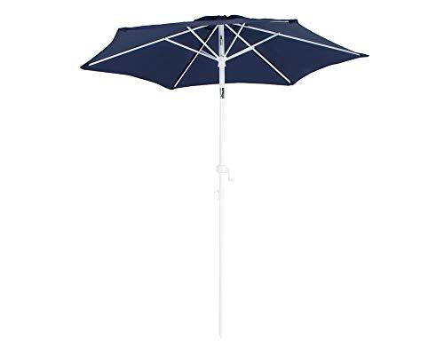 Ondis24 Strandschirm 18 Meter Sonnenschutz Sonnenschirm 180 cm rund mit Kurbel Knick-Gelenk UV 50 Blau