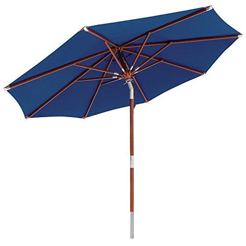 anndora Sonnenschirm Knicker 3 m rund  Dreh-Kipp-Mechanismus  Winddach Navy Blau