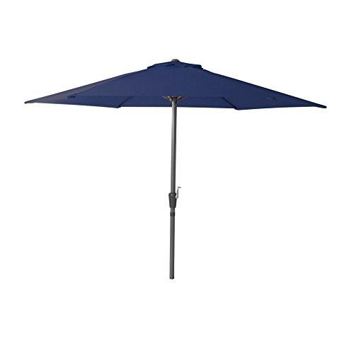 greemotion Marktschirm blau Schirm mit robustem Aluminiumgestell in Anthrazit 6 stabile Stahlstreben leichtes Öffnen mit Kurbel Sonnenschirm mit praktischer Entlüftung Maße ca Ø 300 x H 230 cm