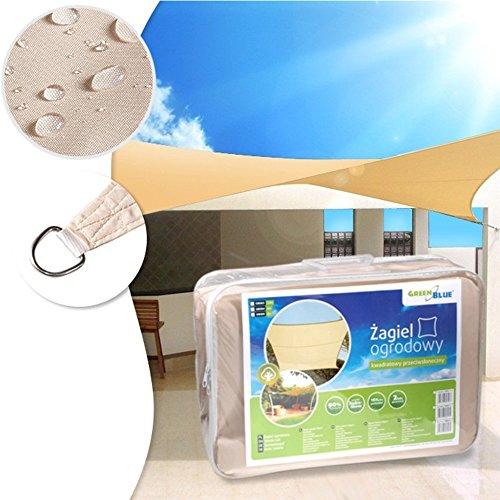 GreenBlue GB504 Sonnensegel Sonnenschirm Sonnenschutz Windschutz Sonne Quadrat Creme 4m x 4m