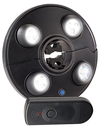 Luminea Sonnenschirmleuchte LED-Schirmleuchte mit 4 dreh- dimmbaren Spots 200 lm Fernbedienung Sonnenschirm Lampe