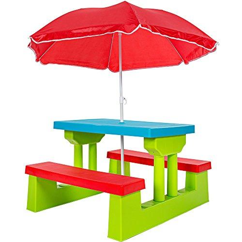 TecTake Kindersitzgruppe für bis zu 4 Kinder inkl Sonnenschirm 2 Bänke  Tisch