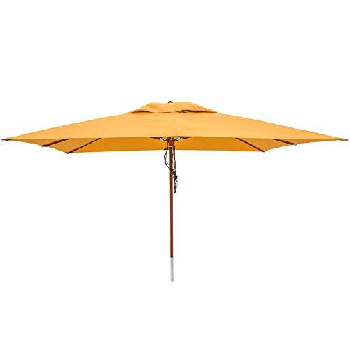 anndora Sonnenschirm Gartenschirm Marktschirm 3 x 4 m eckig UV Schutz Sahara Gelb