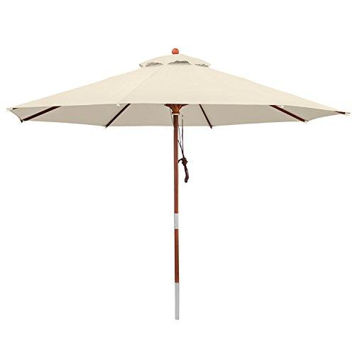 anndora 300020 Sonnenschirm natur 300 cm rund Gestell Holz Bespannung Polyester 95 kg