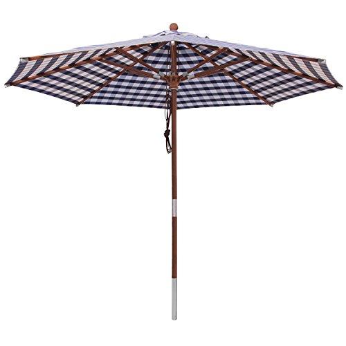 anndora Sonnenschirm 3 m rund Gartenschirm Marktschirm - mit Winddach kariert Blau Weiß