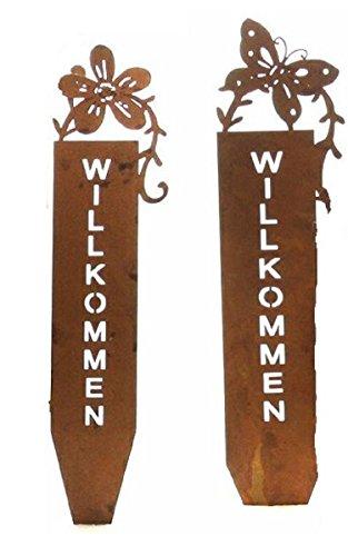 Deko-Stecker Garten-Stecker Willkommen Metall Rostoptik Preis für 1 Stck