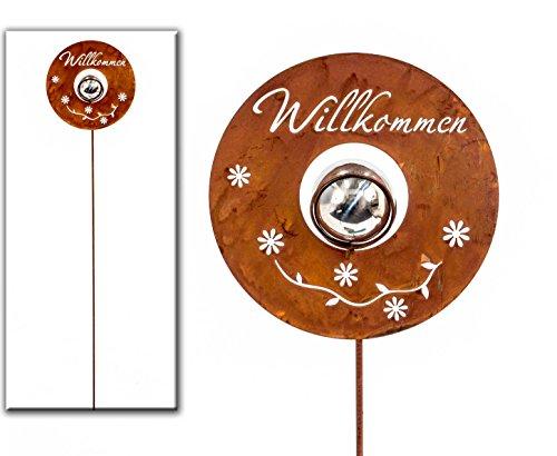 Gartenstecker Willkommen Metall silberrost H 100 cm Beetstecker Stecker Gartenstab Deko-Stecker