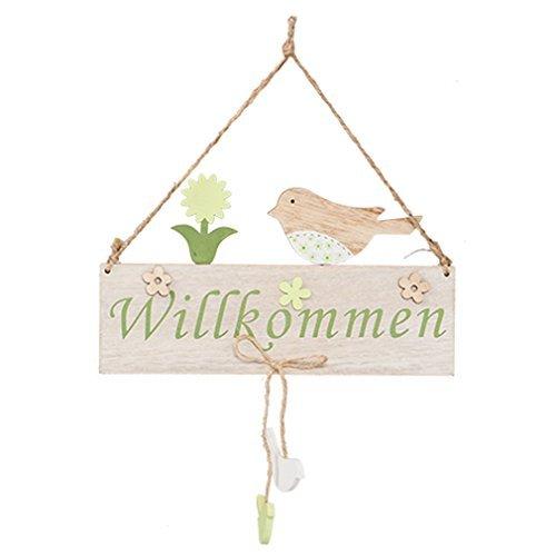 Wandschild Vogel Schild Holz Willkommen mehrfarbig Deko-Schild Dekoration Hängeschild Von Haus der Herzen