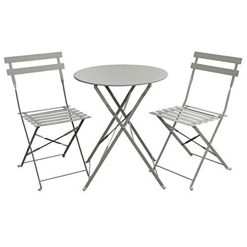 SVITA Bistro-Set 3-teilig Gartenset Garnitur Metall-Möbel Stuhl Tisch Kapp-Möbel Balko-Set Blau Weiß Schwarz Grau Grau