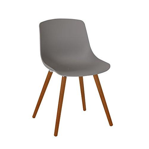 greemotion 129503 Gartenstuhl Halifax aus Kunststoff in Grau-Stuhl mit Holzbeinen für Garten Balkon Terrasse-Gartensessel im Retro Look-Lounge Sessel modern 52 x 6 x 8 cm