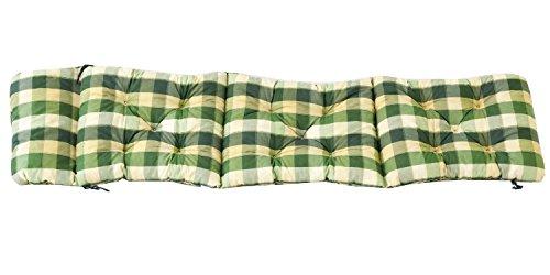 Ambientehome Deckchair Auflage für Liege kariert grün ca 195 x 49 x 8 cm Polsterauflage Kissen