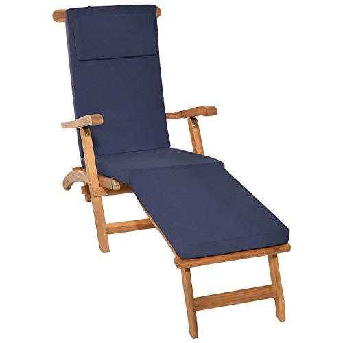 Beautissu Auflage für Deckchair LoftLux DC 175x45x5cm Luxus Polster-Auflage Liege-Stuhl - Bezug Abnehmbar Dunkel-Blau in verschiedenen Farben erhältlich