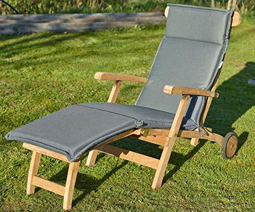 Destiny Premium Auflage für Deckchair Taupe Grau Deckchairauflage Polster Kissen by abziehbar waschbar 300728