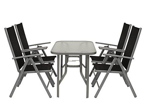 DEGAMO Garnitur RAVENNA 5-teilig 4x Alu Klappsessel mehrfach verstellbar schwarz 1x Glastisch 70x120cm