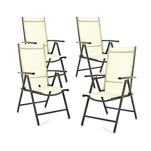 SONLEX 4er Set Klappstuhl Klappsessel Gartenstuhl Campingstuhl Liegestuhl – Sitzmöbel – klappbarer Stuhl aus Aluminium Kunststoff - Creme TextileneAnthrazit Rahmen