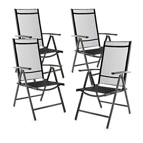 SONLEX 4er Set Klappstuhl Klappsessel Gartenstuhl Campingstuhl Liegestuhl – Sitzmöbel – klappbarer Stuhl aus Aluminium Kunststoff - schwarz Textilene  anthrazit Rahmen