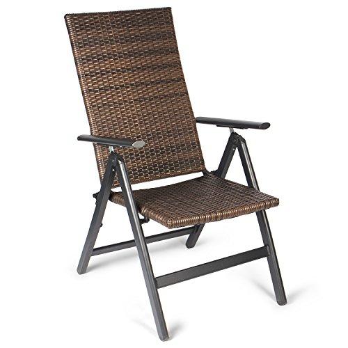 Vanage Polyrattan Gartenstuhl in braun -  Alu Klappstuhl - Hochlehner - Klappsessel - Gartenmöbel - Relax-Sessel für Garten Terrasse und Balkon geeignet