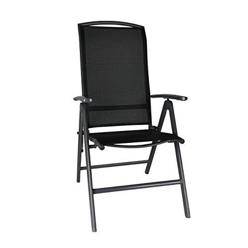 greemotion Klappsessel Aruba anthrazitschwarz Stuhl aus schnell trocknender 4x4 Textilene hochwertiges Aluminiumgestell 7-fach verstellbare Rückenlehne platzsparend klappbar