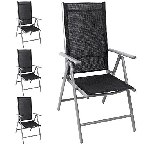 4x Aluminium Gartenstuhl Hochlehner hochwertige Textilenbespannung 8-fach verstellbar klappbar SilberSchwarz - Liegestuhl Positionsstuhl Klappstuhl Terrassenmöbel Balkonmöbel Gartenmöbel