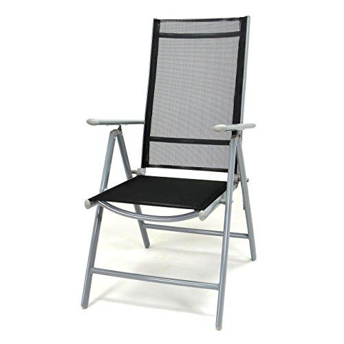 Nexos Klappstuhl Komfortbreite Hochlehner Gartenstuhl Campingstuhl Liegestuhl – Sitzmöbel Garten Terrasse Balkon – Stuhl aus Alu Kunststoff - schwarz