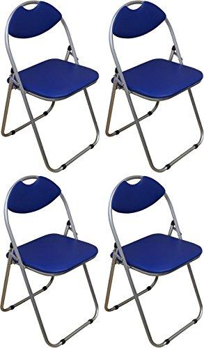 Klappstuhl - gepolstert - Blau - 4 Stück