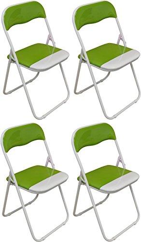 Klappstuhl - gepolstert - Grün  Weiß - 4 Stück