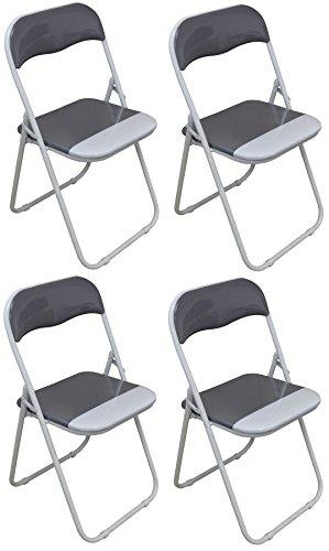 Klappstuhl - gepolstert - kühles Grau Weiß - 4 Stück