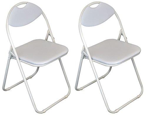 Klappstuhl - gepolstert - komplett weiß - 2 Stück