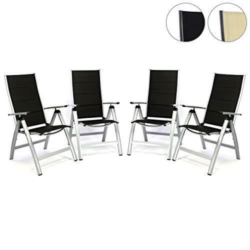 Nexos ZGC34480_SL04_AZ 4er Set Deluxe Klappstuhl Gepolstert – Textilene SchwarzRahmen Hellgrau-Gartenstuhl Liegestuhl – klappbarer Stuhl aus Aluminium Kunststoff