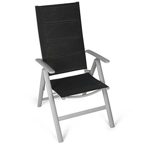 Vanage gepolsterter Gartenstuhl in schwarz - Klappstuhl im 2er Set - Hochlehner - Klappsessel - Gartenmöbel - Stuhl für Garten Terrasse und Balkon geeignet