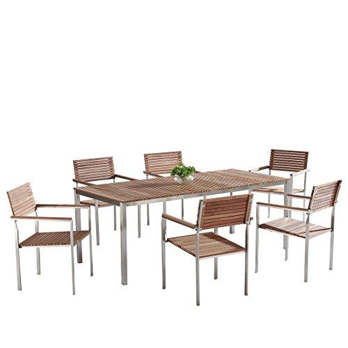 Beliani Teak-Stahl Gartenmöbel - Esstisch 200x90-6 x Stuhl - VIAREGGIO