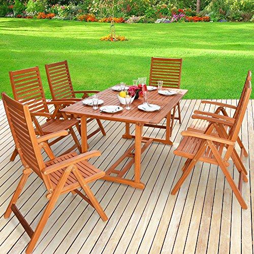 Deuba Sitzgruppe 61 aus massivem Eukalyptus Holz 1 Tisch  6 Klappstühle mit Armlehnen - Sitzgarnitur Gartentisch Esstisch Gartenmöbel Set