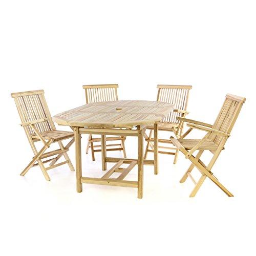Divero Gartenmöbel-Set Terrassenmöbel-Garnitur Sitzgruppe – Esstisch 120170 cm ausziehbar 4 x Klappstuhl mit Armlehne – Teakholz massiv Natur