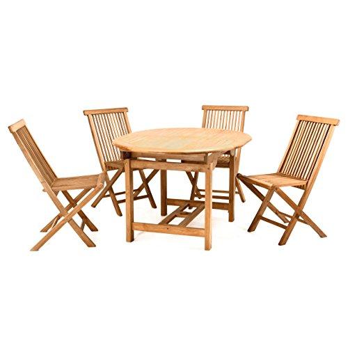 Divero Gartenmöbel-Set Terrassenmöbel-Garnitur Sitzgruppe Esstisch 120170 cm ausziehbar 4x Holzstuhl klappbar leicht – Teakholz massiv behandelt