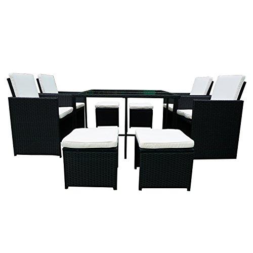 FROADP Poly Rattan balkonmöbel gartenmöbel Set Schwarz - inkl 4 Glas Esstisch und 4 Rattan-Hocker Stühle Weiß Sitzkissen,C Type