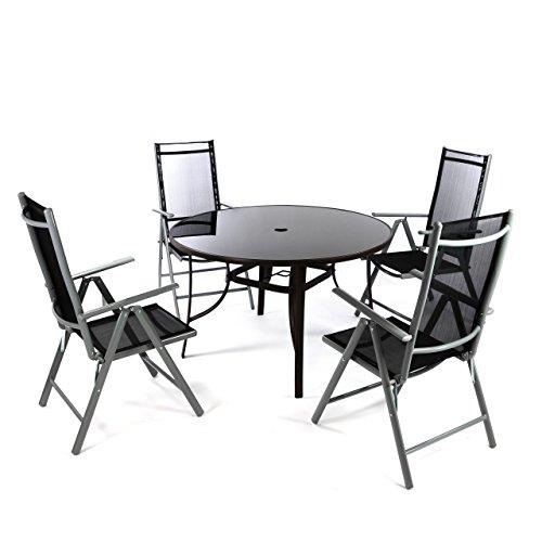 Nexos 5-Teiliges Gartenmöbel-Set – Gartengarnitur Sitzgruppe Sitzgarnitur aus Klapplstühlen Esstisch Rund – Aluminium Kunststoff Glas – BraunSchwarz