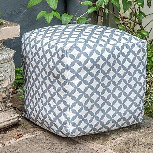 Designer Wasserdicht marokkanischen Garten Outdoor SitzwürfelSitzhocker-Grau Weiß Bahia Marrakech Kollektion-Entworfen bedruckt Handarbeit in der UK
