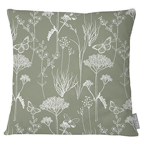Izabela Peters Luxus Designer wasserfester stoff Garten Außen Kissen - Fee Glen Sammlung - entworfener bedruckt Handgefertigt in Großbritannien Auswahl aus Farbgebung - INBY Field - Dusty Salbei