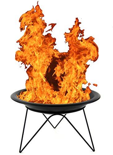 Nick and Ben 51 cm Feuer-Schale mit Grillrost Feuer-Korb schwarz Designer Edel-Stahl Garten-Kamin Terrassen-Ofen Pflanz-Schale Feuer-Stelle Grill BBQ