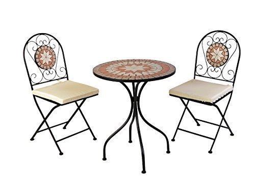 TWC Warenhandel Plus - Garten und mehr Designer Mosaik Bistro Set Metall pulverbeschichtet Bistro Set Gartenmöbel Balkon Gruppe inkl Sitzauflagen 2 Stühle 1 Tisch in Mosaik Optik Set Gartenmöbel