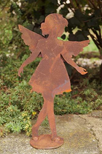 Dekostüberl Edelrost Schutzengel Anna auf Bodenplatte 28x17cm inkl Herzle 8x6cm Engelskind Weihnachten
