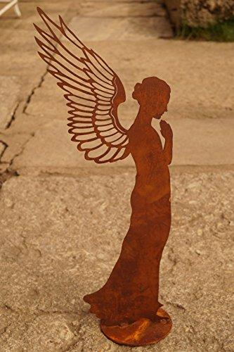 Edelrost Engel betend filigran 55 cm Gartendekoration Flügel Weihnachten Figur