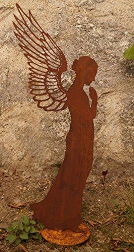 Edelrost Engel betend filigran 77 cm Gartendekoration Flügel Weihnachten Figur